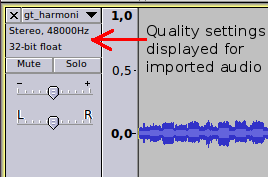 Image showing the display of imported audio quality